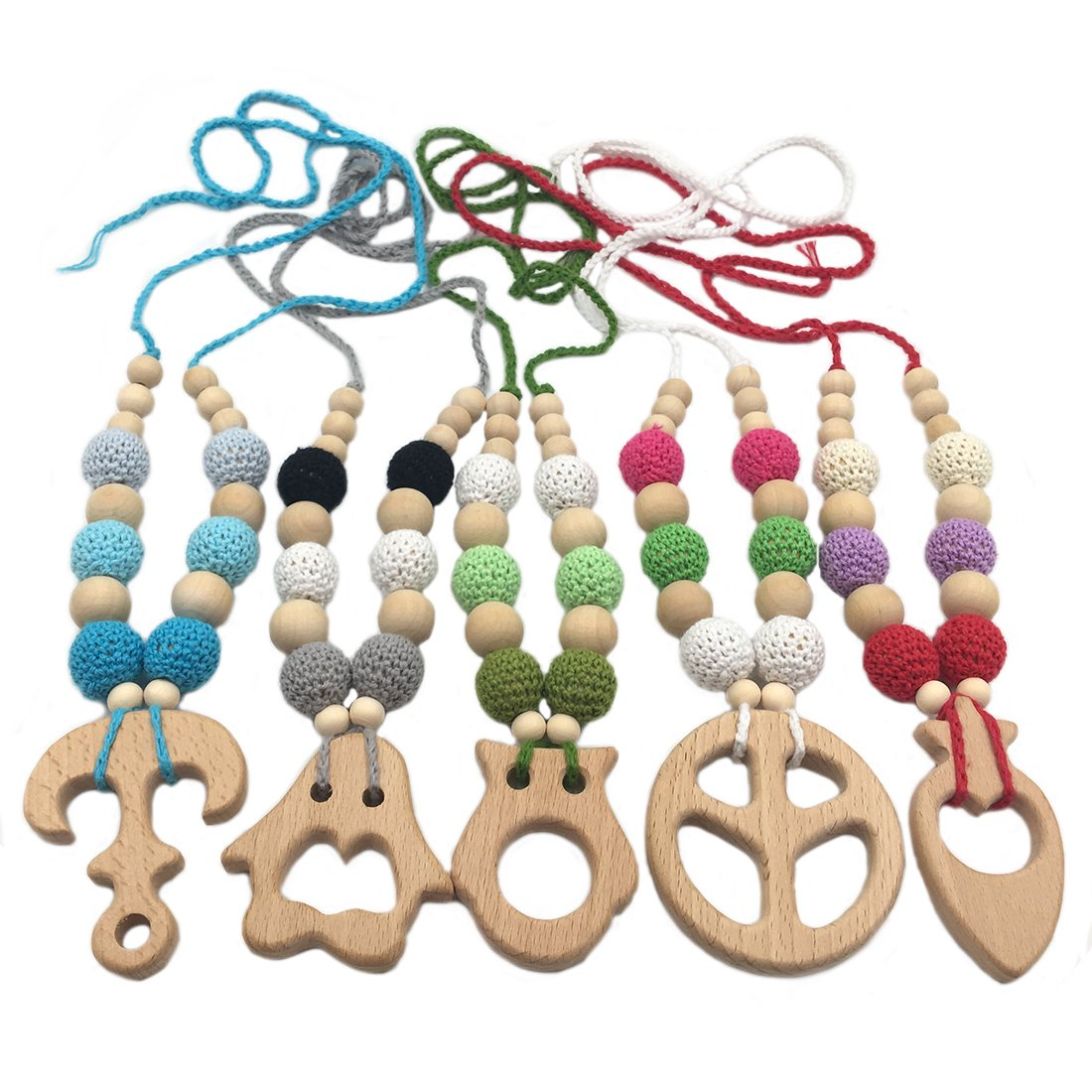 Amyster 5pcs Crochet Beads Baby Teether Necklace Beads Safe Chunky Teething Necklace Wooden Little Animal Wooden Crochet Nursing Teether Baby Toy (5pcs)