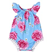 Newborn Kids Baby Girls Clothes Floral Jumpsuit Romper Playsuit + Headband Outfits (6-12 Months, Blue)