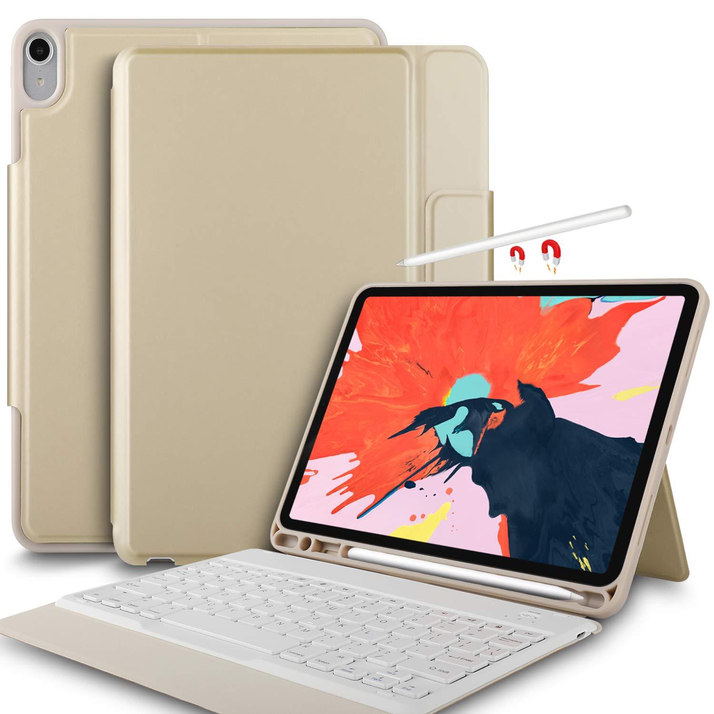 Yocktec Funda Teclado para iPad Pro 11 2018 QWERTY Negro Teclado Bluetooth Ultrafino Funda de Soporte Frontal para Apple iPad Pro 11 Pulgadas 2018 Tablet
