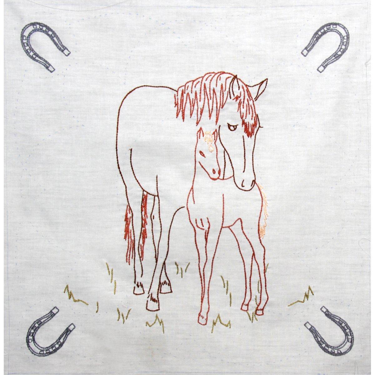 6 Blocks Per Set Fairway 90102 Quilt Blocks Horse and Colt Design White