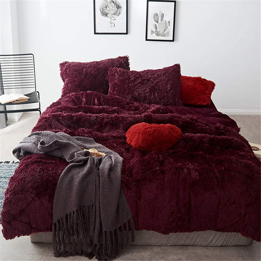MooWoo 4 PCS Luxury Shaggy Plush Bedding Sets, 1 Fluffy Faux Fur Duvet Cover + 1 Velvet Bed Flat Sheet + 2 Furry Pillow Shams, Zipper Closure, 4 PCS (Plum Red, Queen)