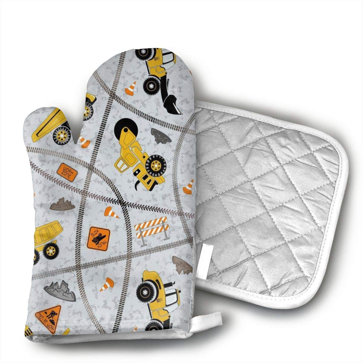 Star Blue Design Construction Trucks Zone Oven Mitts & Heat Resistant Pot Holder - with Polyester Cotton Non-Slip Grip, Best Used As Baking, Grilling, BBQ, Cooking, Kitchen Or Oven Gloves