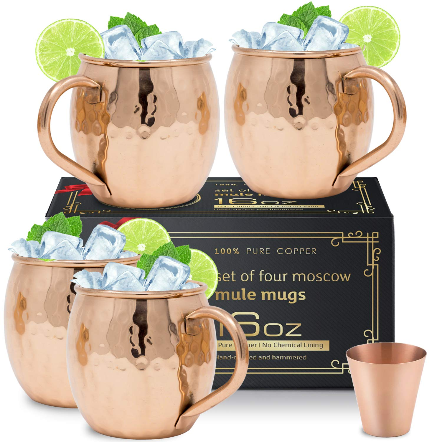 Moscow Mule Copper Mugs Set of 4 - Solid Copper Handcrafted Copper Mugs for Moscow Mule Cocktail - 16 Ounce - Shot Glass Included by Moscow-Mix