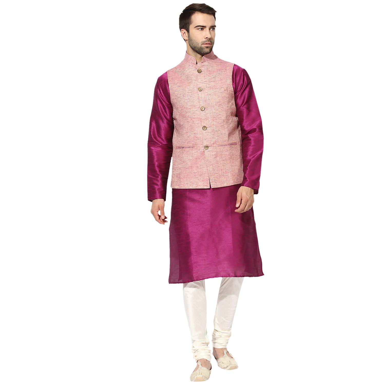 2d011cd8c KISAH Men's Cotton Muslin Multi Nehru Jacket with Kurta and Churidar Set