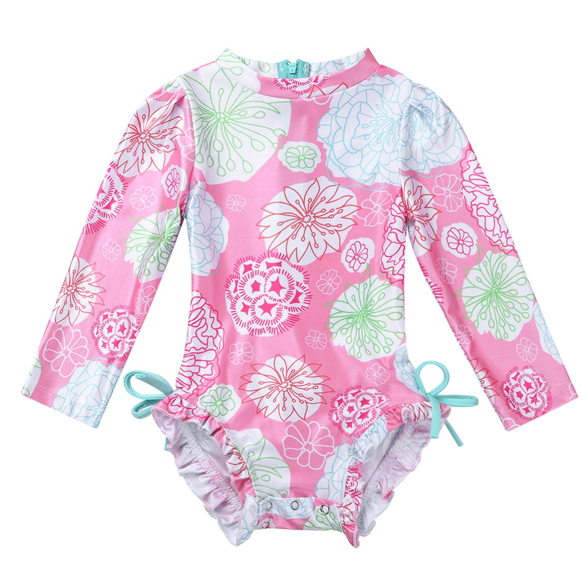 dPois Baby Infant Girl Newborn One-Piece Long Sleeve Floral Printed Swimwear Swimsuit Back Zipper with Ruffled Butt Bathing Suit