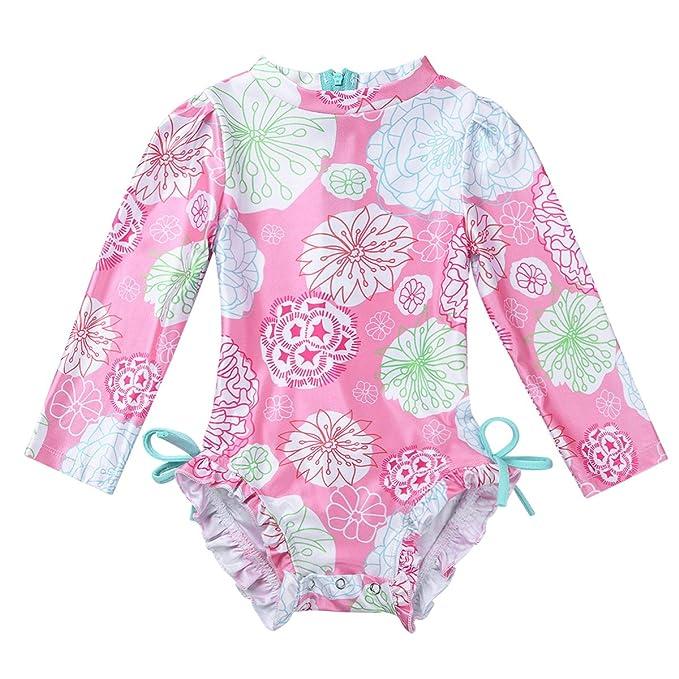 TiaoBug Traje de Baño para Recién Nacidos Bebés Manga Corta Traje de Baño Niñas Una Pieza Swimsuit con Protección Solar UPF 50+