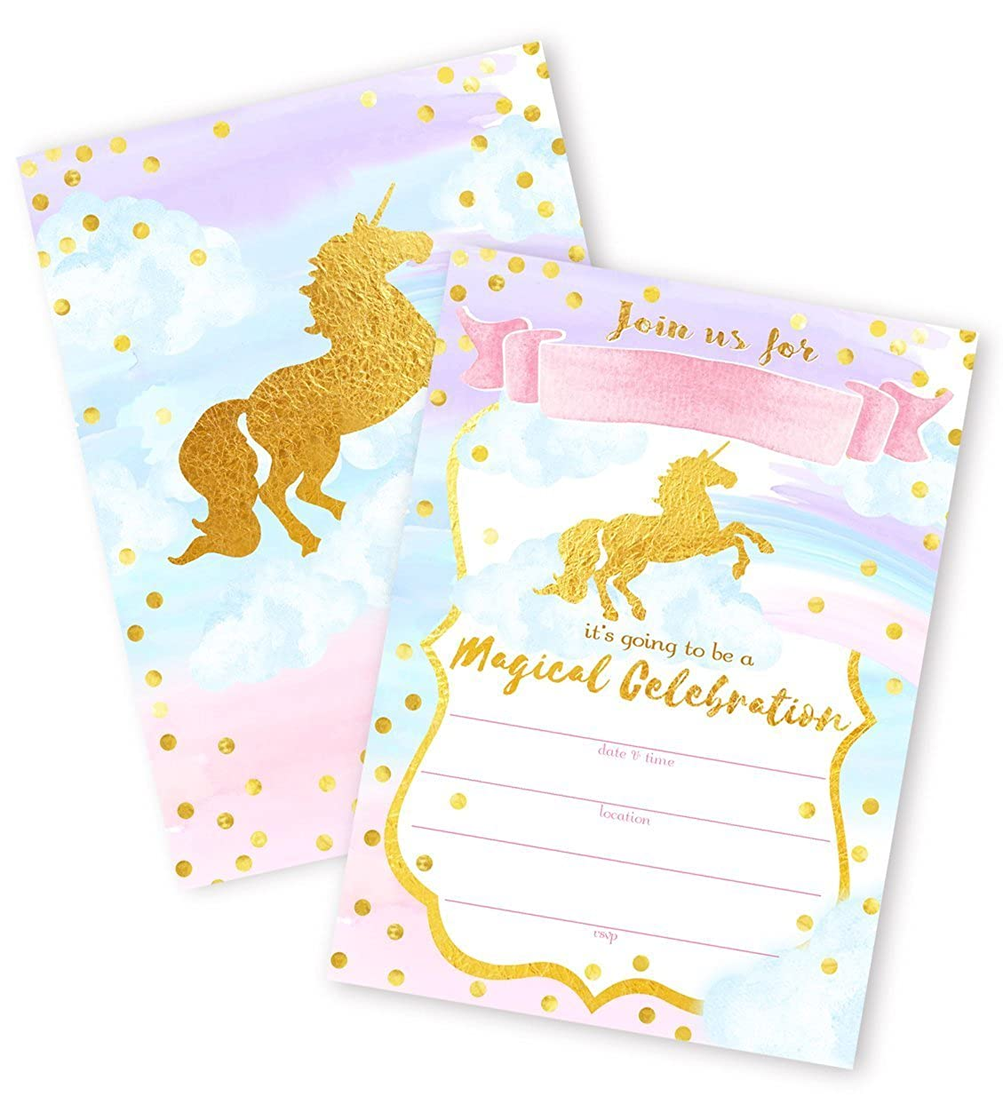 Magical Unicorn 12 LARGE Invitations - 12 Invitations + 12 Envelopes - DOUBLE SIDED POP parties