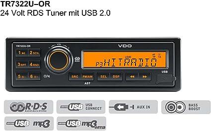 Vdo Tr7322u Or Lkw Truck Bus 24 Volt 24v Usb Mp3 Radio Elektronik