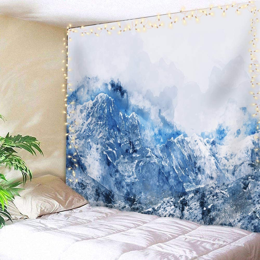 AMBZEK Abstract Watercolor Blue Tapestry 51Hx59W Inch Silver Gray Cold White Mountains Modern Art Wall Hanging Bedroom Living Room Dorm Decor Fabric