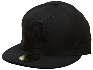 c96a11e125f New Era Cleveland Indians Fitted Hat Mens Style  HAT712-BLACK Size  8