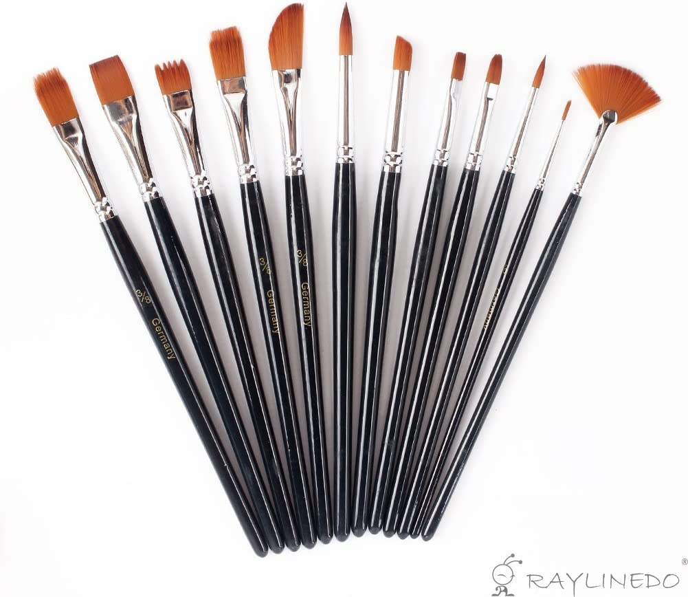 12Pcs Artist Paint Brushes Oil Watercolour Art Painting Brush Craft Drawing Tool