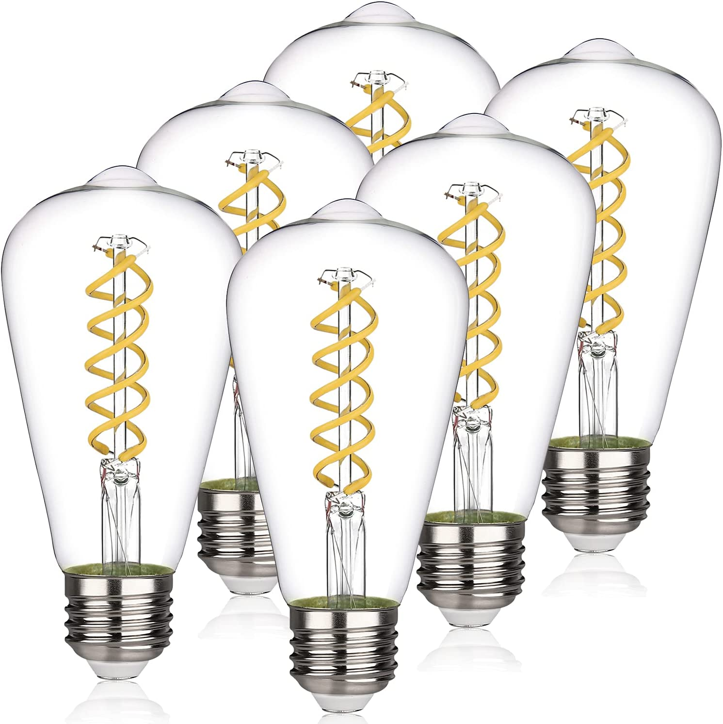 RuiAoTD ST58 (ST19) Vintage Edison LED Bulb 6W Equivalent 60W Dimmable Nature Daylight 4000K 600lm Antique Flexible Spiral LED Filament Light Bulb E26 Base Clear Glass for Home, Bedroom, Office 6 Pack
