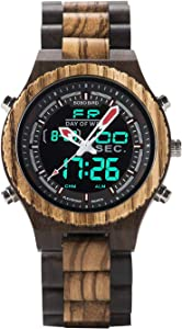 Win A Free Mens Wooden Watches LED Dual Display Digital Quartz Watch…