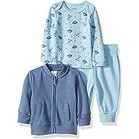 Hanes Ultimate Baby Baby-Boys BFFTJ3 Flexy Fleece Jogger with Long Sleeve Crew and Fleece Jacket Layette Set - Multi
