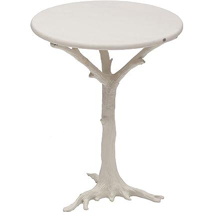 Global Views White Branch Faux Bois Side Table