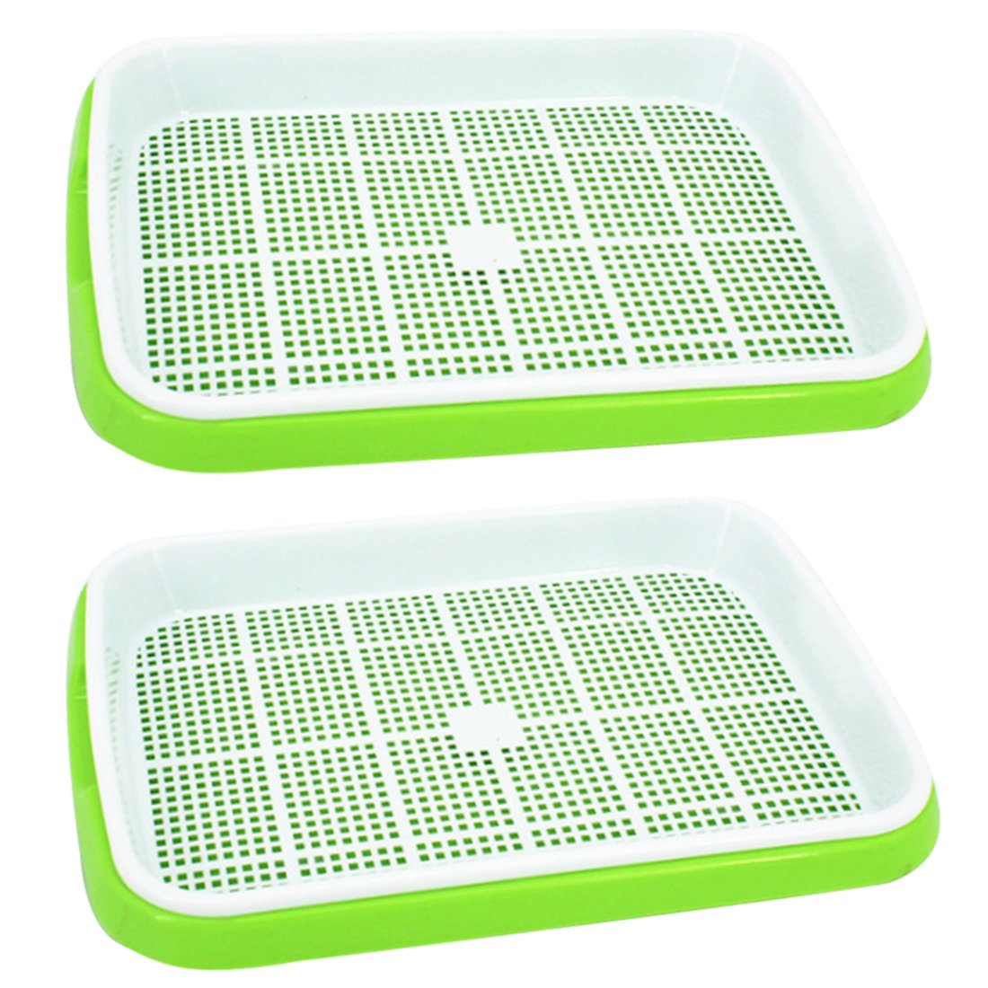 Seed Sprouter Tray, Yamix 2 Set Two-Tiered Seed Sprouter Tray Kitchen Crop Sprouter Germination Tray Hydroponics Basket (Green + White)