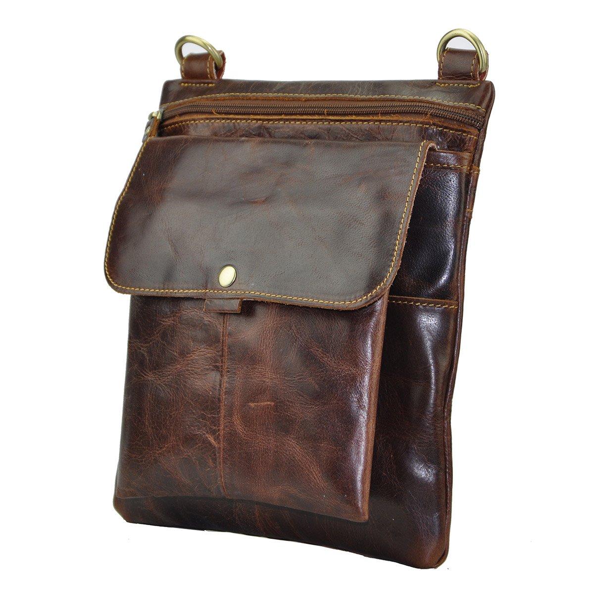 Le'aokuu Mens Genuine Cow Leather Sling Messenger Shoulder Bag Casual Style (Burgundy)