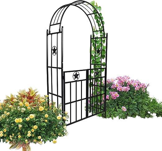 Kinbor - Arco de jardín con puerta de metal para exterior, para diversas plantas trepadoras, jardines, patios, bodas, invernaderos, decoración de fiestas: Amazon.es: Jardín