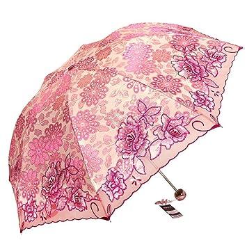 LUO Paraguas Bordado Mujer Tres sombrillas Plegables parasoles Paraguas UV Paraguas Lluvia súper Liviana Paraguas Doble,A66: Amazon.es: Deportes y aire ...