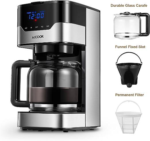 Amazon.com: Cafetera Aicook de 12 tazas, máquina de café ...