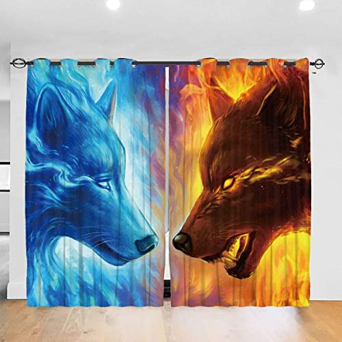 BYKJ Cool Fire Ice Wolf Blackout Curtain