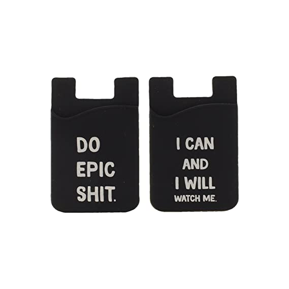 Silicone Phone Wallet With Funny Motivational Quotes (Set Of 2) Adhesive  Pocket Wallet Pouch