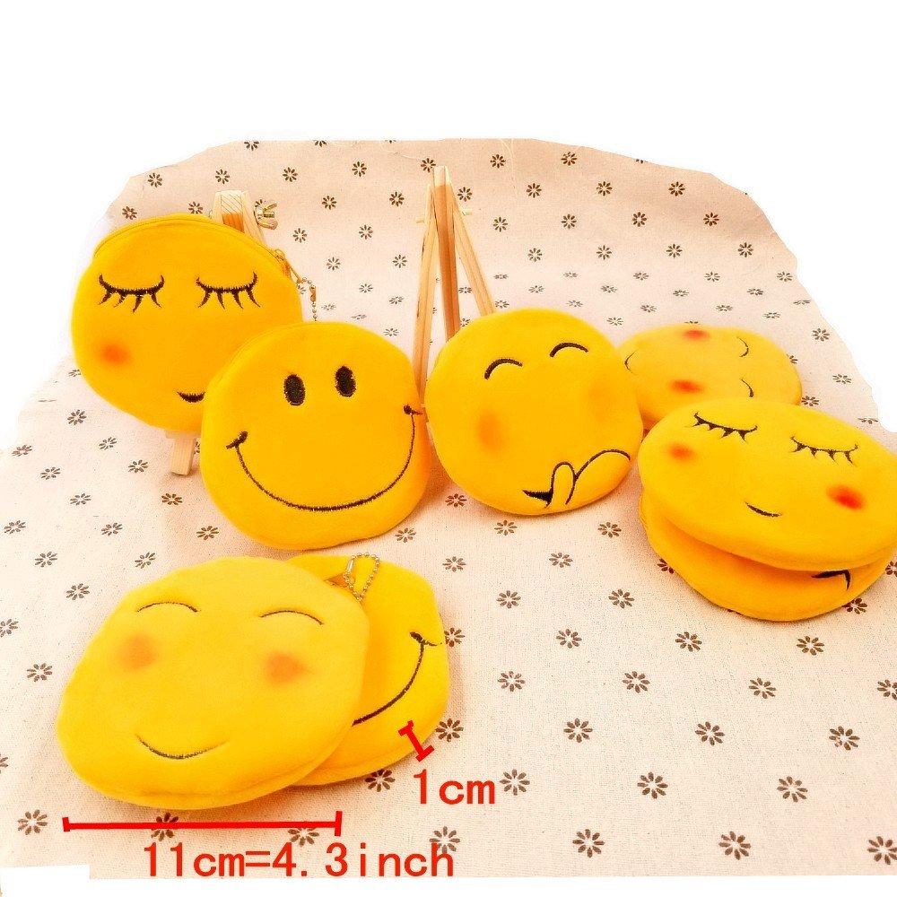 JZK 8 Plush Emoji Emoticono Monedero Bolso 11 cm pequeña Bolsa con Cremallera Regalo cumpleaños Navidad para niños niña Infantiles