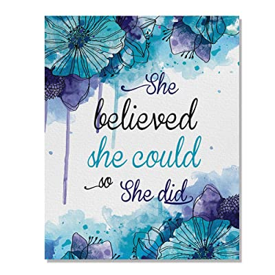 She Believed She Could So She Did Watercolor Wall Art Poster