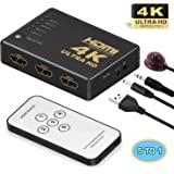 HDMI Switch,Supports 4K,GANA Intelligent 5 in 1 Out HDMI Splitter,Full HD1080p, 3D with IR Remote for PS3 / PS4 / Apple…