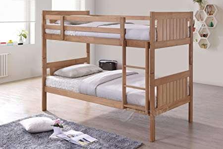 New Milan Wooden Kids Bunk Bed Shaker Style Modern Childrens Natural ...