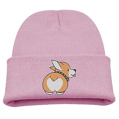 ZWZ Funny Corgi Dog Butt Kid's Hats Winter Funny Soft Knit Beanie Cap, Unisex