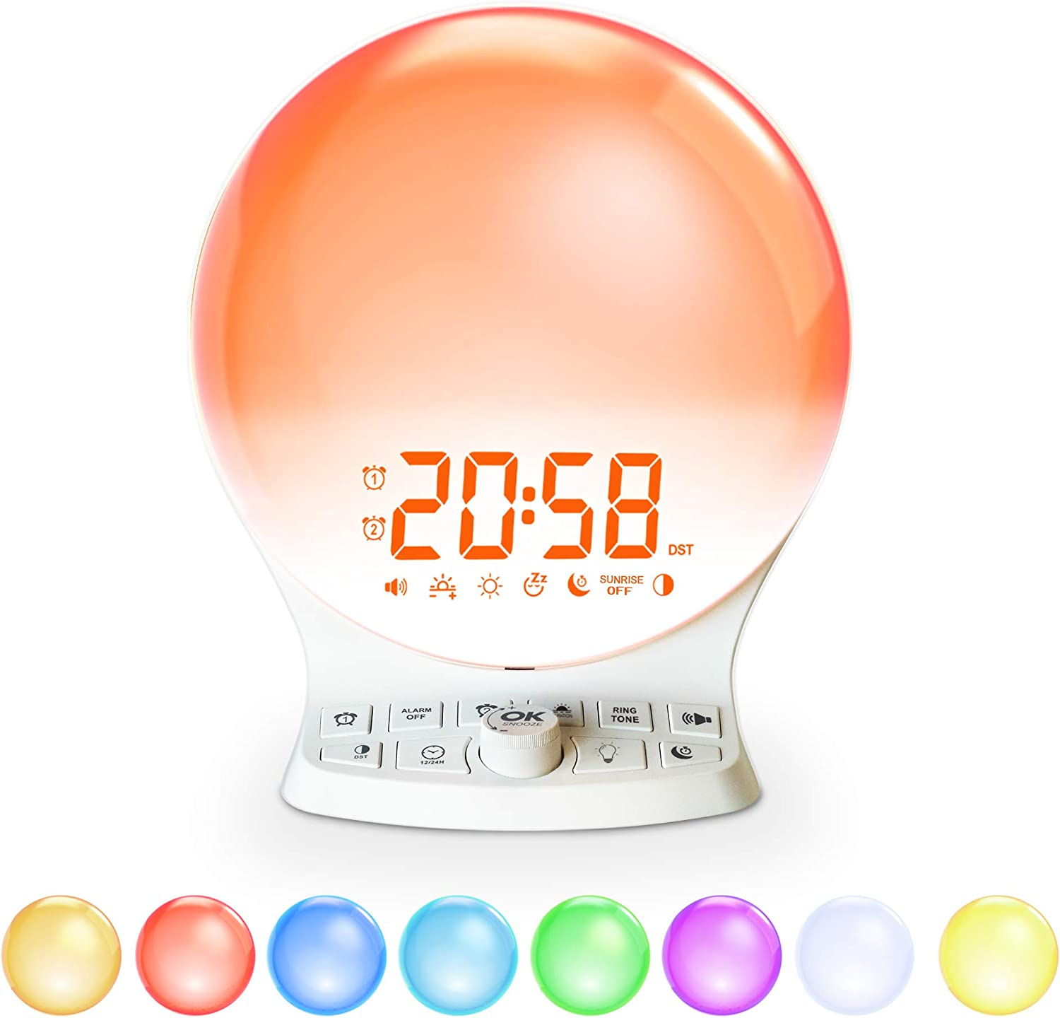 OnLyee Wake Up Light Sunrise Alarm Clock , 9 Colored Night Light/Sunrise Simulation & Sleep Aid & Dual Alarm Clock, 6 Natural Sounds and Snooze for Kids Adults Bedrooms/Night Light Ambiance