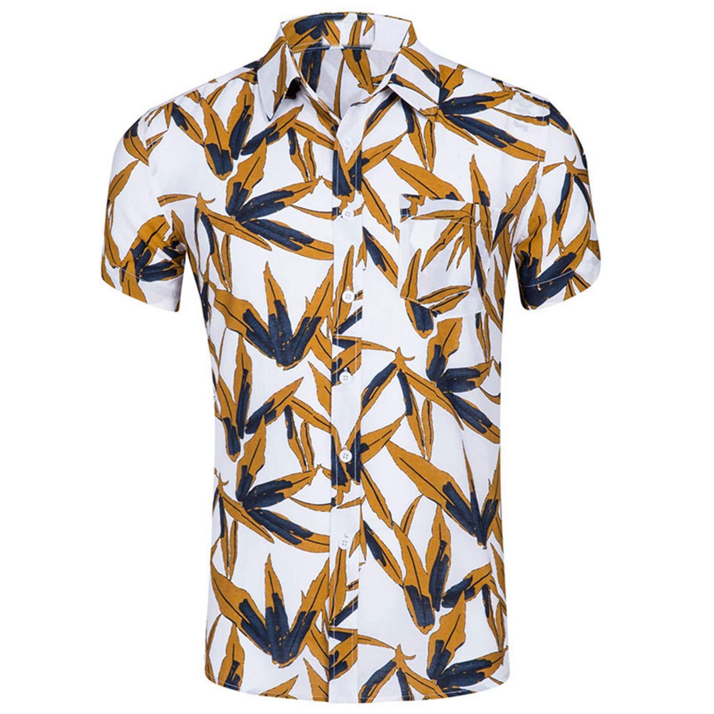 Mens Casual Short Sleeve Hawaiian Shirt Summer Turn Down Collar Beach Shirts Men Slim Fit Party Holiday Aloha Shirt