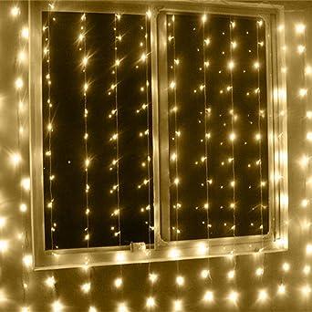 LED Lichtervorhang Lichterkette,KINGCOO 3m x 6m 600LEDs Vorhang ...