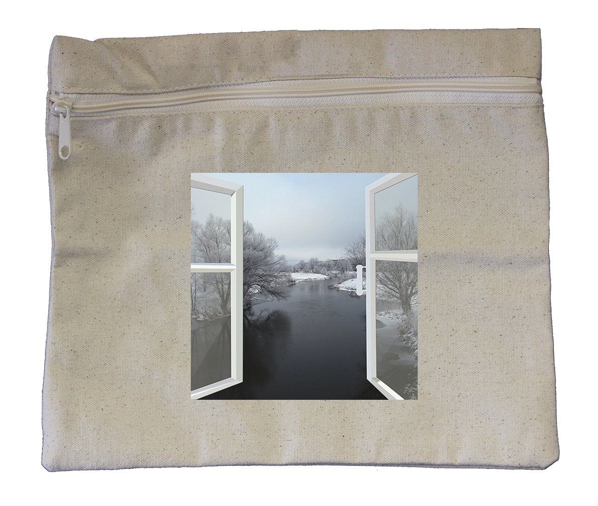 Canvas Zipper Pouch Tote Bag 10''X12'' Open Window To Winter River Style In Print