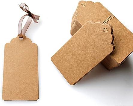 100pcs DIY Kraft Paper Tag Xmas Wedding Favour Party Gift Card Label Blank Tags