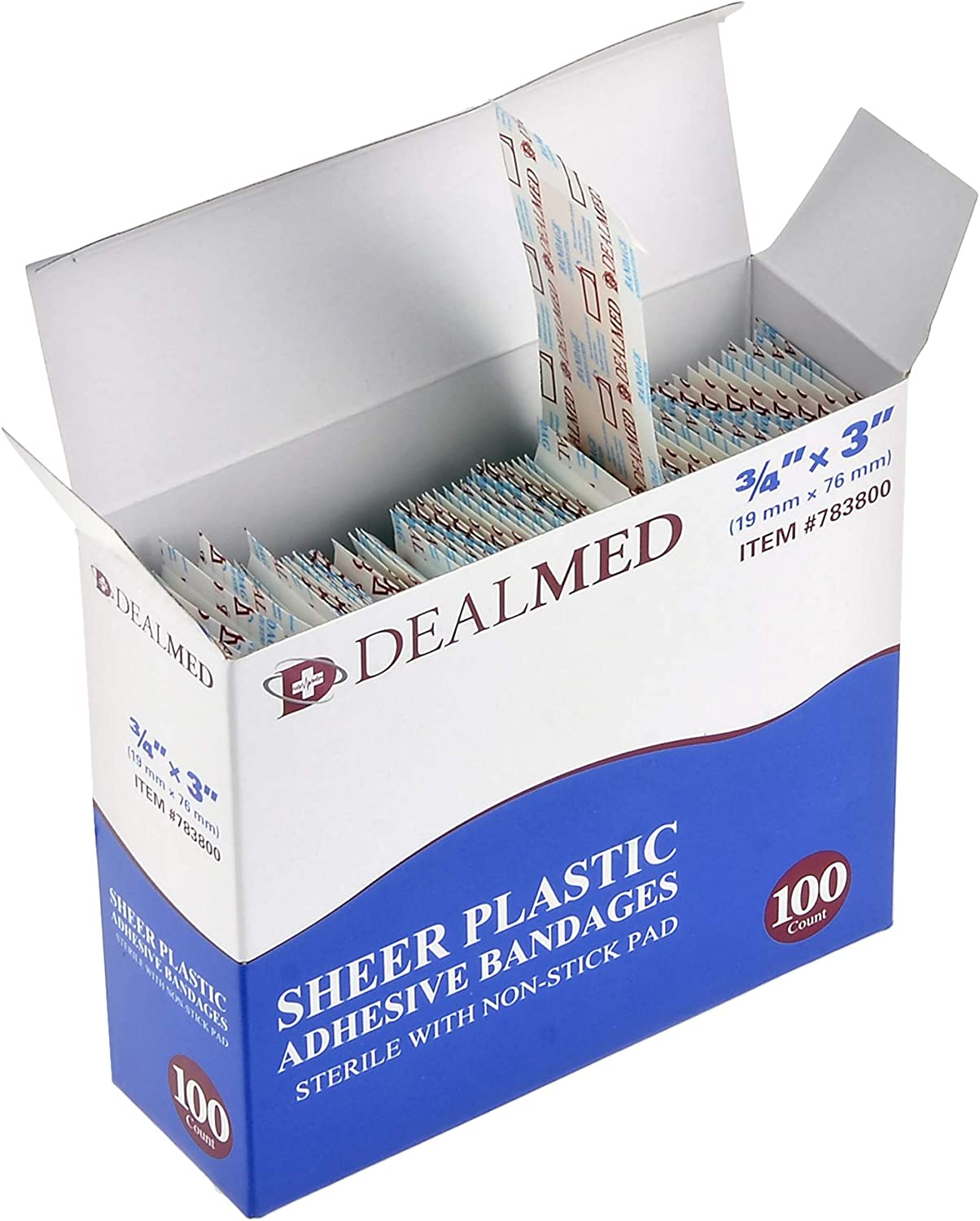 1 Pack 3 x 3//4 Dealmed Sheer Plastic Flexible Adhesive Bandages 100 Count Sterile with Non-Stick Pad