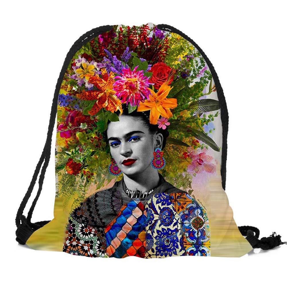 Frida Mochila con cordón para Mujer y niña, Bolsa de Gimnasio para natación, Bolsa de Escuela,Bolsas de Cuerdas(G) Dunbasi