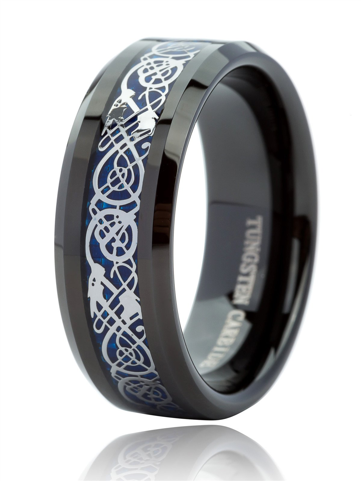 Just Lsy Black Tungsten Rings for Men & Women Blue Carbon Fiber Celtic Dragon Wedding Band Comfort Fit 8MM Size 9.5-019