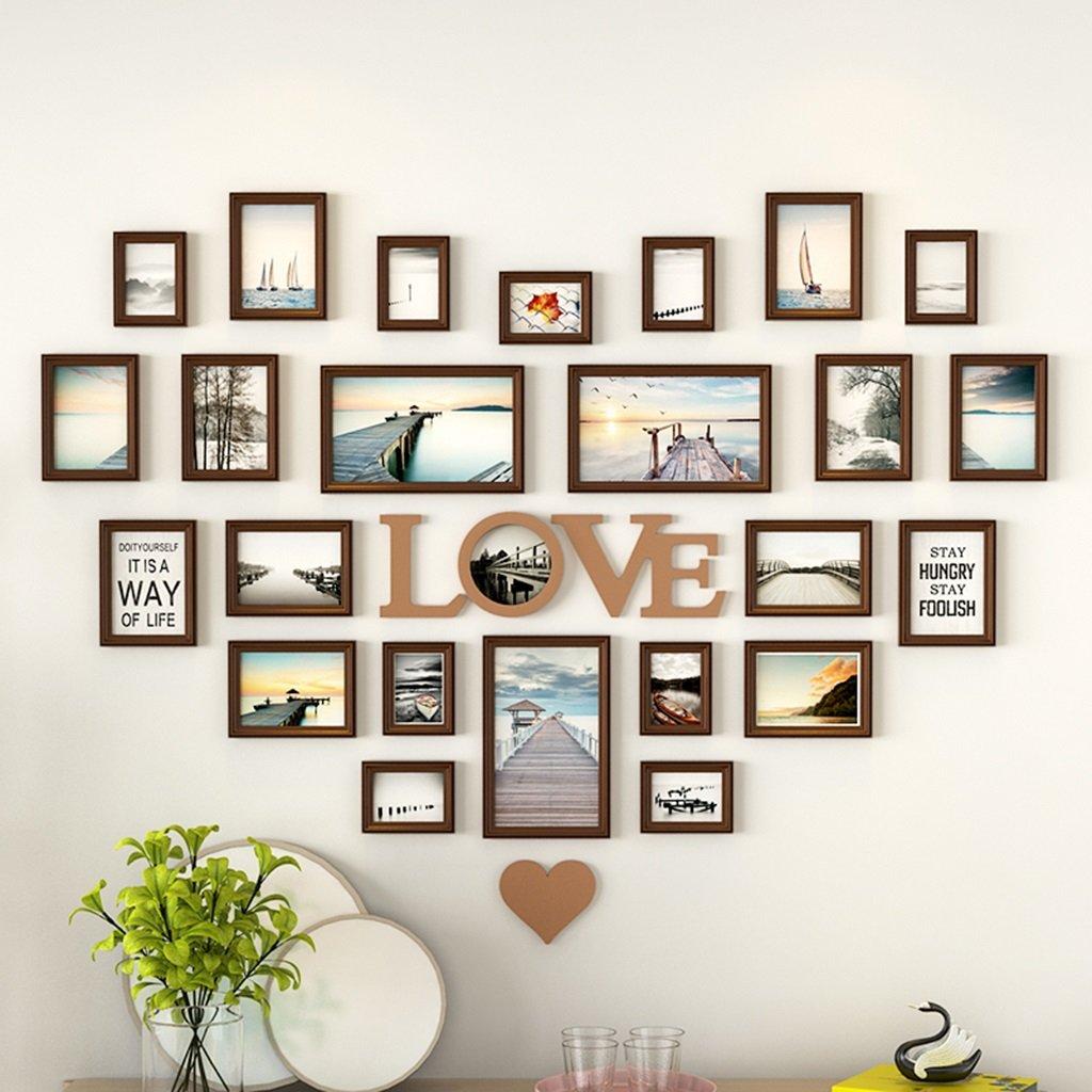 Unbekannt Herz-förmige Foto-Wand-Dekorations-festes Holz-Rahmen-Wand-freies Lochen Schlafzimmer-kreativer Liebes-Hintergrund-Foto-Rahmen-Wand-Kombinations-Hochzeits-Geschenke
