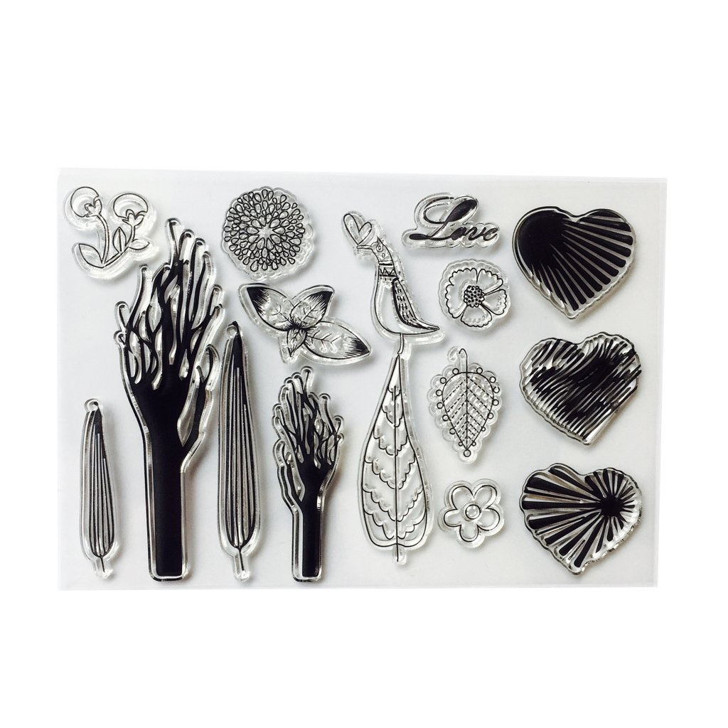 Shoresu Heart Transparent Stamps Silicone Stamps Clear Stamps for DIY Scrapbooking Card Cards Making Photo Album Decorative 11cmx16cm/4.33inx6.30in