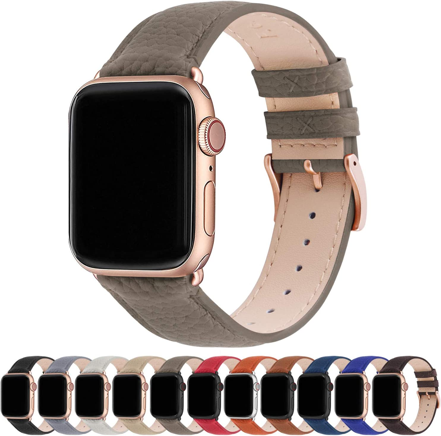 Fullmosa Compatible Apple Watch Band 44mm 42mm 40mm 38mm Leather Compatible iWatch Band/Strap Compatible Apple Watch SE & Series 6 5 4 3 2 1, 38mm 40mm, Elephant Grey + Rose Gold Buckle