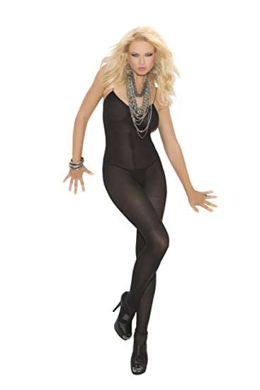 c6b195b60be Amazon.com  Elegant Moments Women s Plus-Size Opaque Bodystocking with Open  Crotch