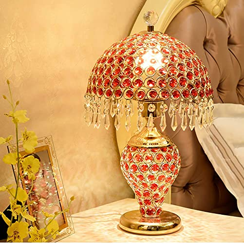Crystal Table lamp,Stilvoll Decorative Ornate Illuminated Glass Night light Double Button Dual Light For Bedside Office E26-red 43x26cm 17x10inch