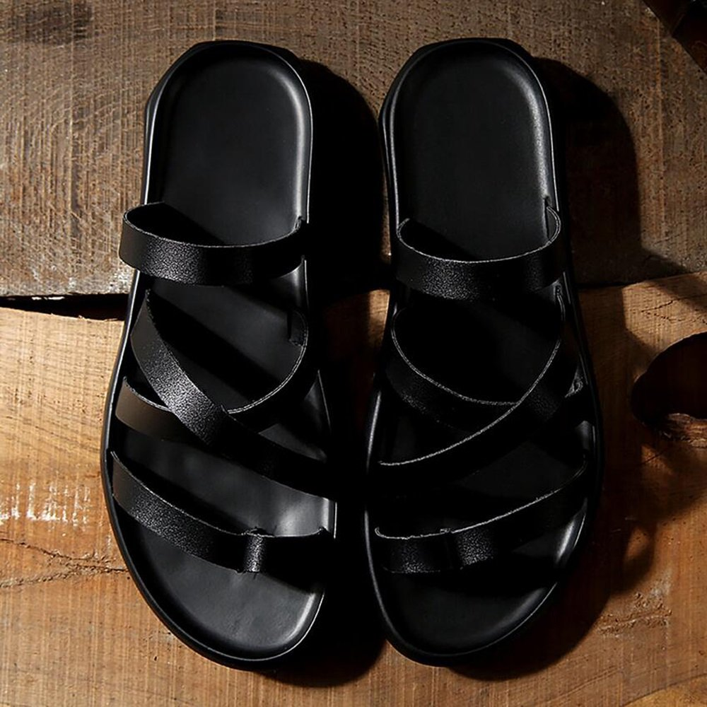 Herren Schuhe Leder Sommer Sandalen Herren Casual Sandalen Flip Flops Flip   Herrenchen Wort Flip Flops Flop Herren Strand Schuhe GAOLIXIA ( Farbe : schwarz , Größe : 41 ) - d3fc5a