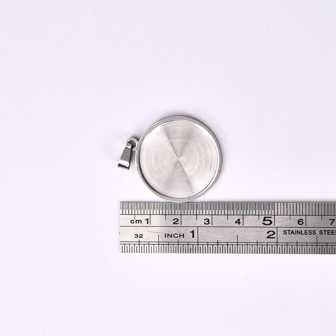 Stainless Steel Bezel Pendant Trays Round Cabochon Settings Trays Pendant Blanks 12X12mm 50PCS
