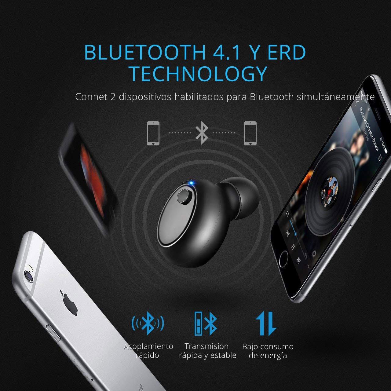 Amazon.com: Nanle Auricular Bluetooth Auricular Invisible Bluetooth 4.1 y EDR, Manos Libres y Cancelación de Ruido, In Ear Auriculares con Micrófono para ...