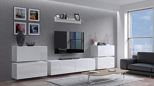 Home Direct Future 8 Weiß Modernes Wohnzimmer Wohnwand Wohnschrank  Schrankwand Möbel Mediawand C8-HG-W8