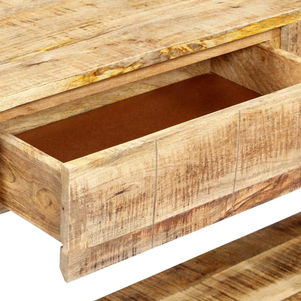 vidaXL Legno Massello di Mango Tavolo Consolle Rustico 2 Cassetti e 1 Ripiano Lucidata Laccata Verniciata Tavolino da Salotto Ingresso Naturale