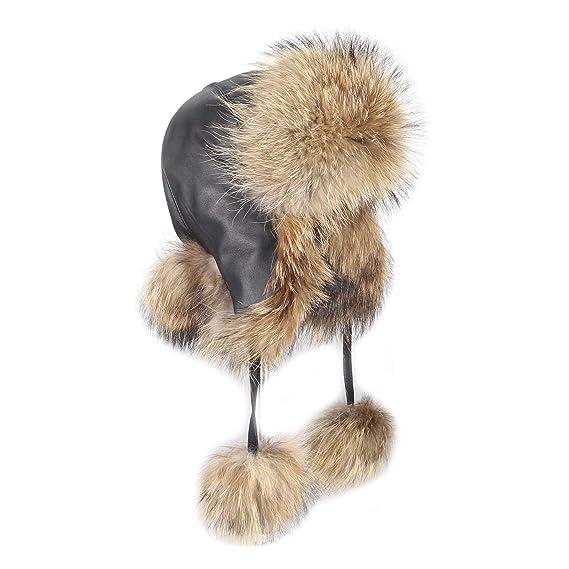mapache Gorro pelo - Gorro de zorro de aviador Invierno Gorro Gorro de esquí  Fox usch Anka Polar Gorro ruso Real pelo natural tonos  Amazon.es  Ropa y  ... 22ba3675a8e